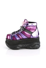 "DEMONIA NEPTUNE-100 3"" Platform Purple Glitter-Hologram Shoe Contrast Piping, Studded Contrast Hook N' Loop Ankle Strap & UV Reactive Tubbing D29PGH"