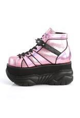 "DEMONIA NEPTUNE-100 3"" Platform Pink Glitter-Silver/Vegan Leather Shoe, Hook N' Loop Ankle Strap w/ Cone Studs and UV Reactive Tubbing D29VPG"