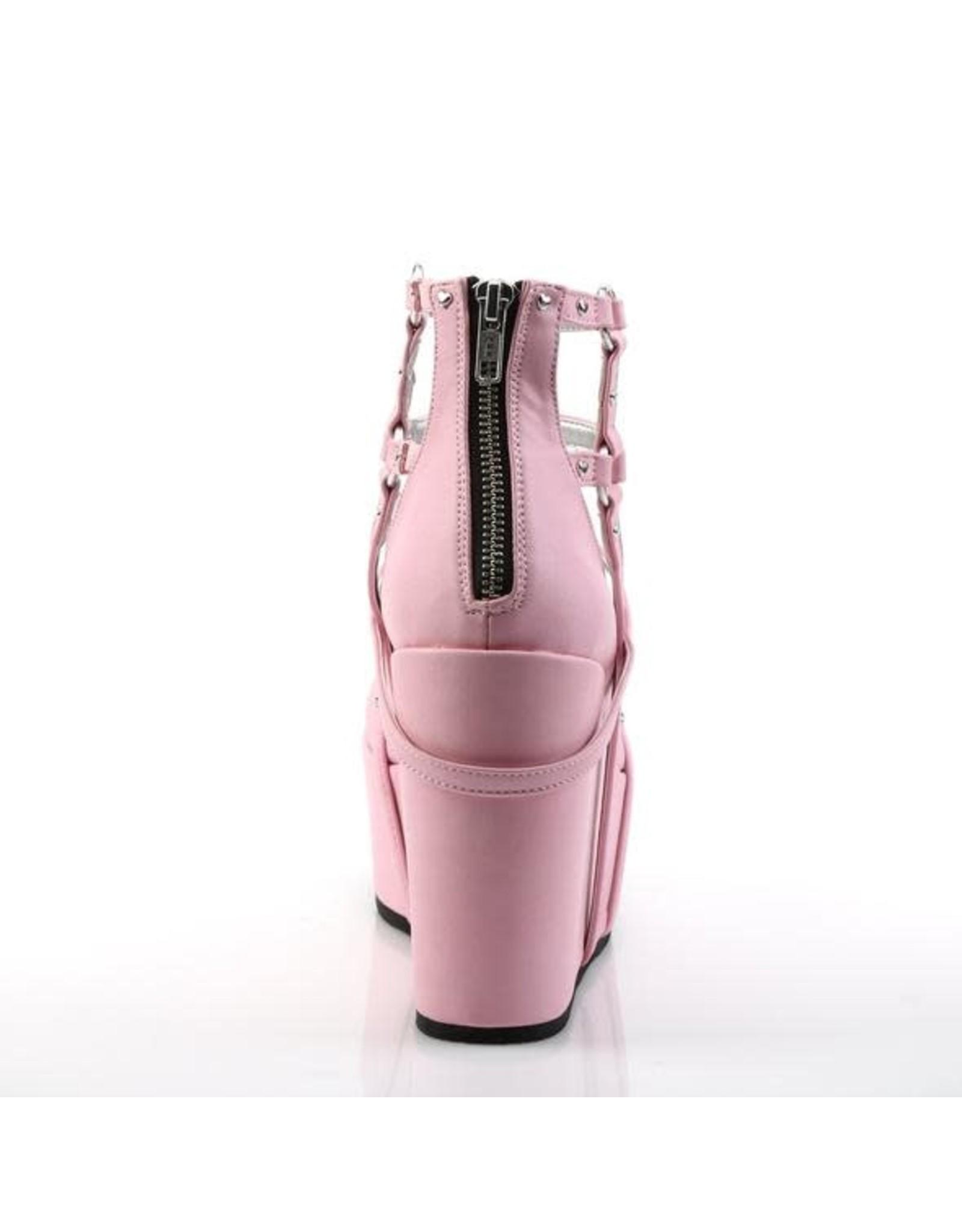 "DEMONIA POISON-25-2 5"" Wedge Platform Pink Vegan Leather Cage Bootie + Heart Studding, O-Rings & Heart-Shaped Locket D34PVC"