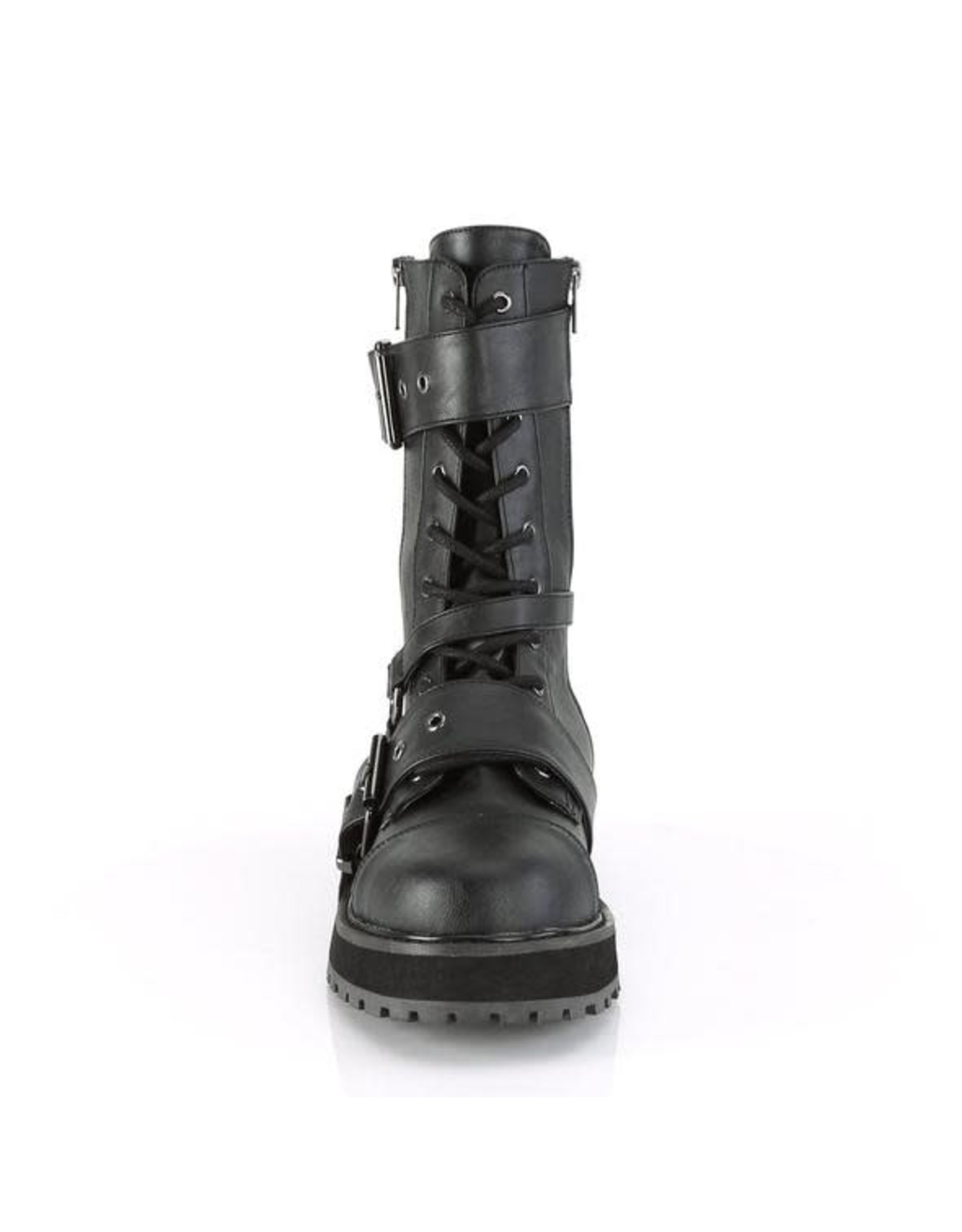 "DEMONIA VALOR-220 1 1/2"" Platform Vegan Black Leather Lace-Up Mid-Calf Boot,Side Zip D51VBS"