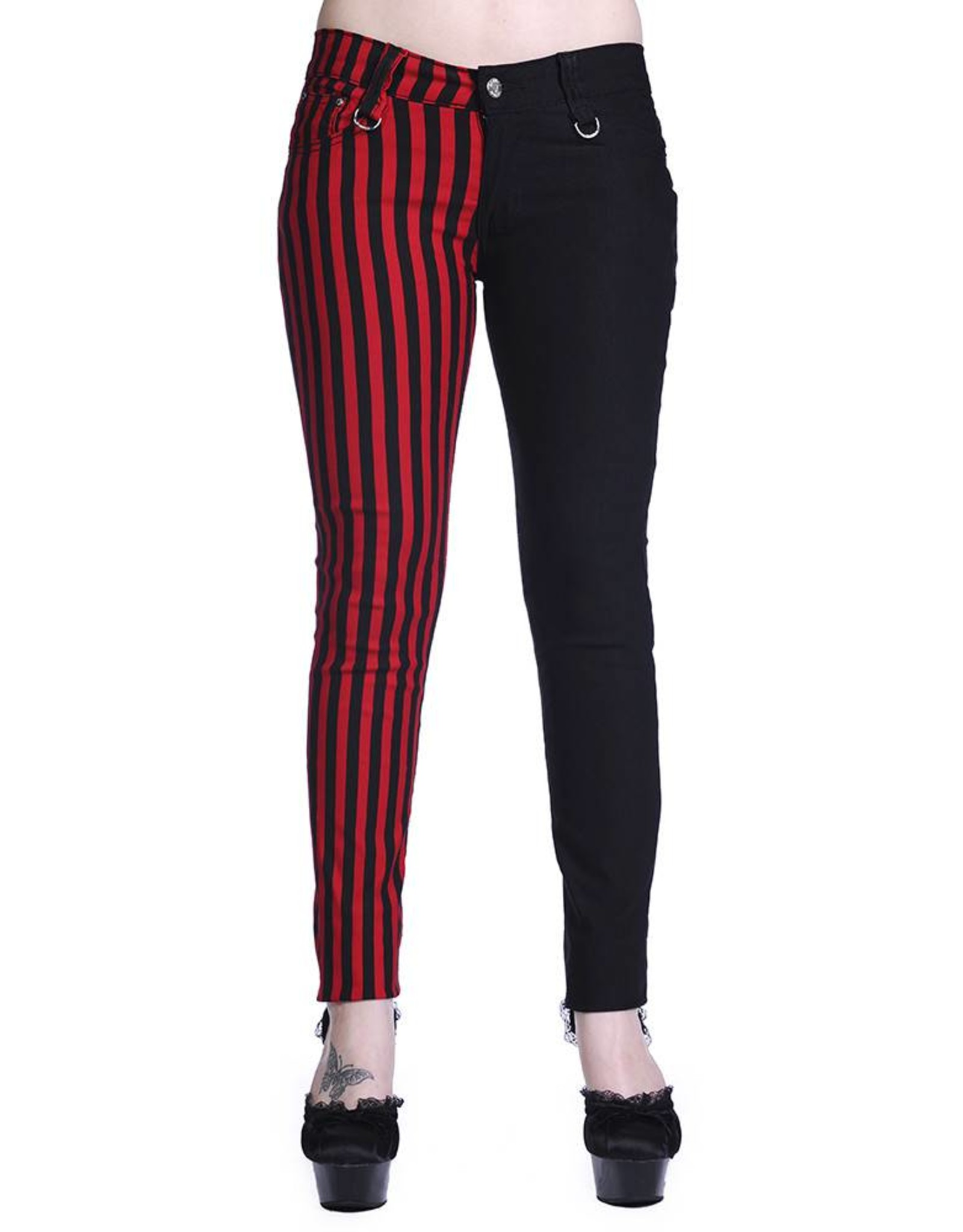 BANNED BANNED - Half Black/Striped Red Pants
