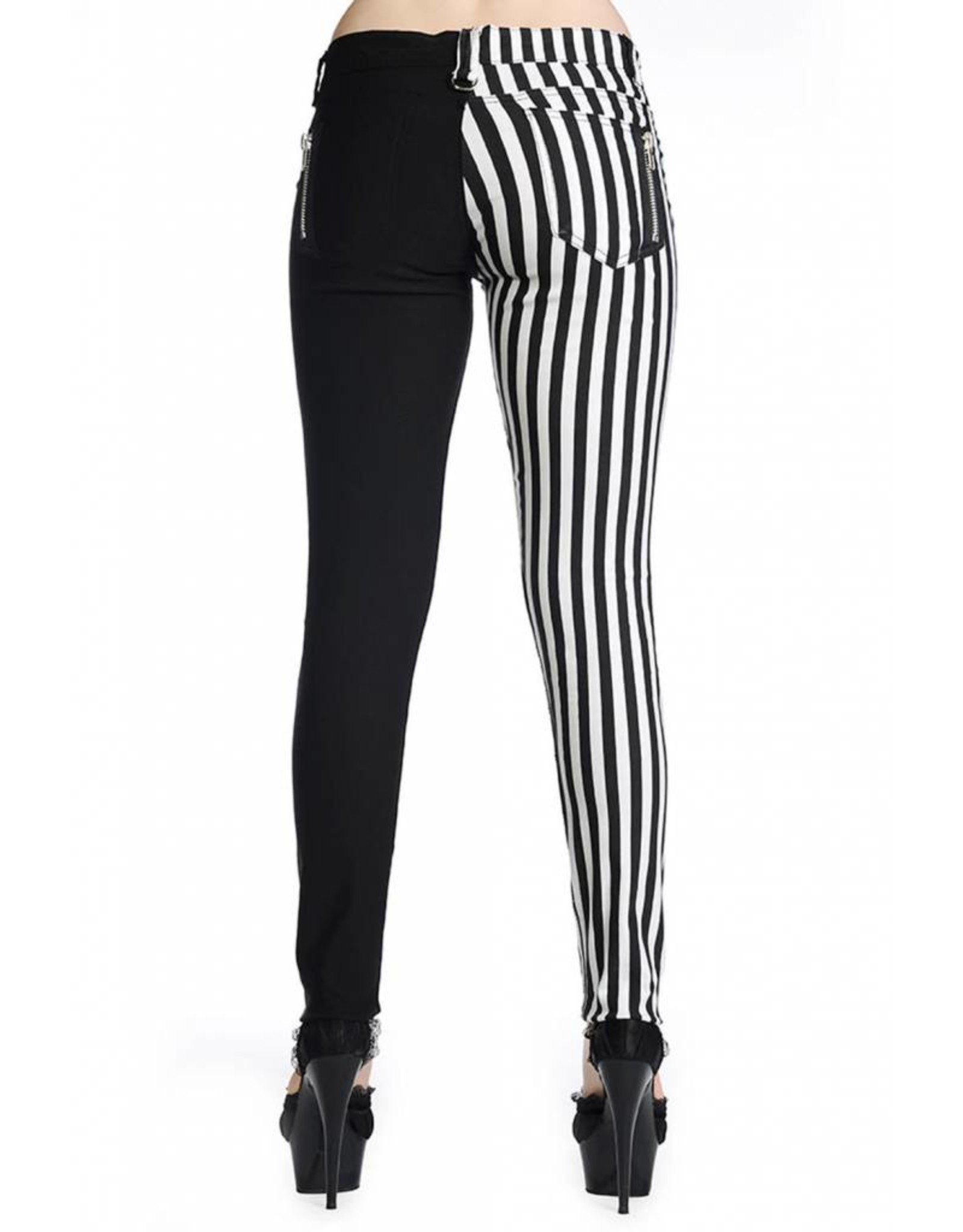 BANNED - Half Striped Black/White Pants