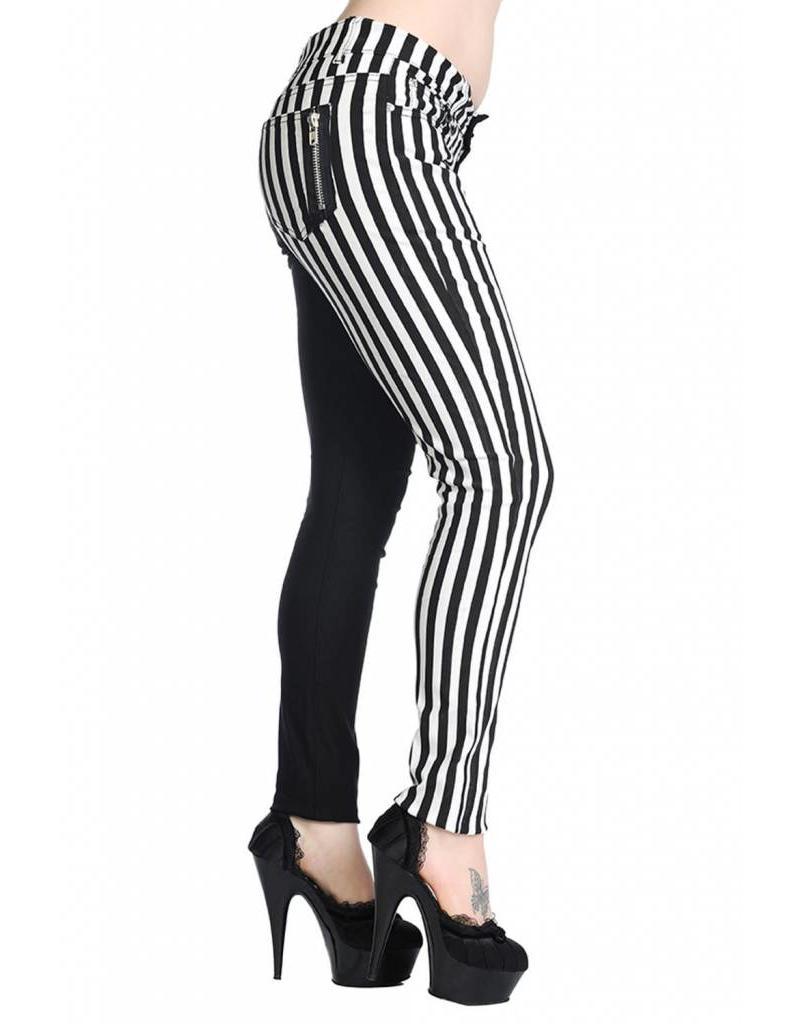 BANNED - Half Striped Black/White Pants