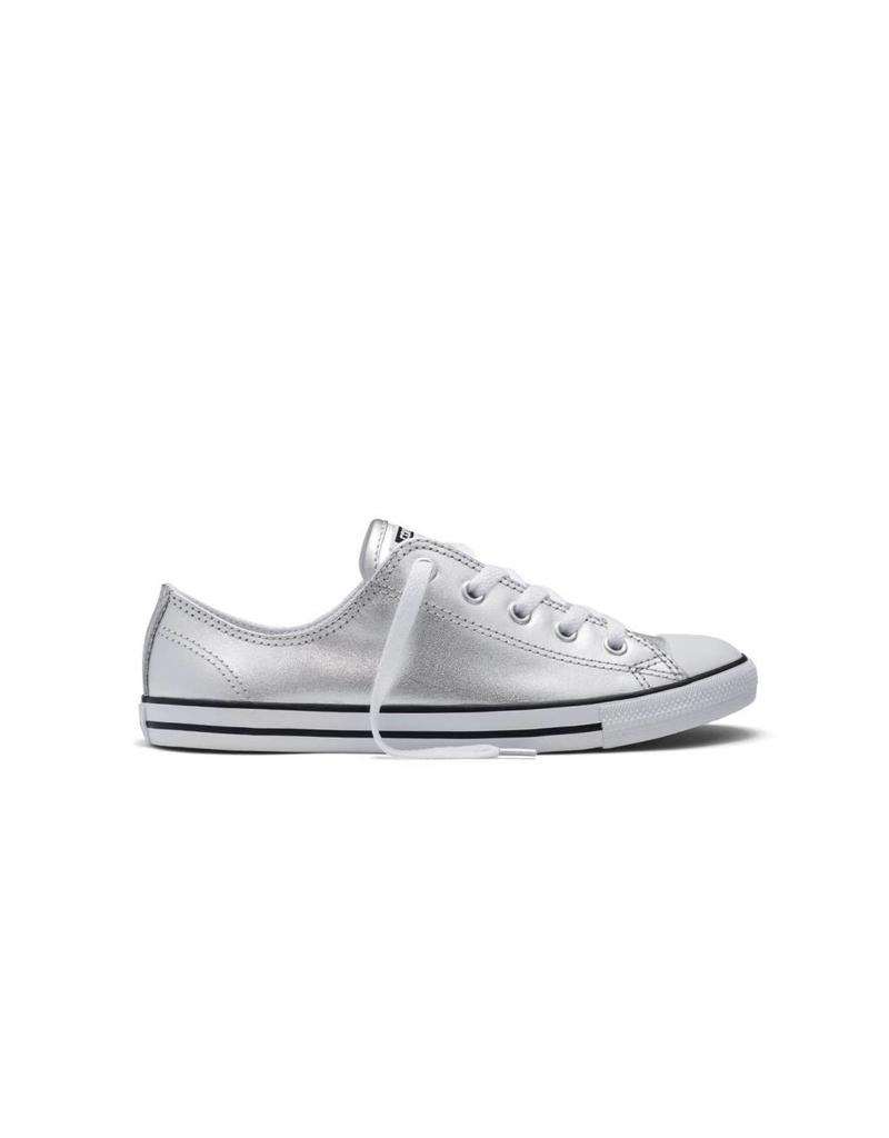 CONVERSE CHUCK TAYLOR DAINTY METALLIC LEATHER OX SILVER CC640DME-553336C