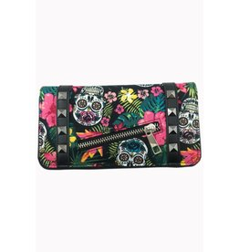 BANNED Banned Hibiscus Skull Wallet