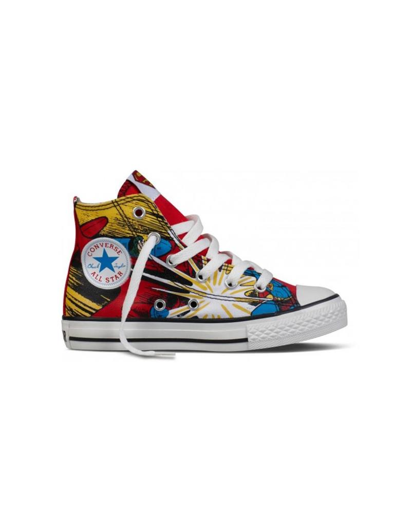CONVERSE CHUCK TAYLOR HI WHITE RED DC COMICS SUPERMAN CGWVS-336634C
