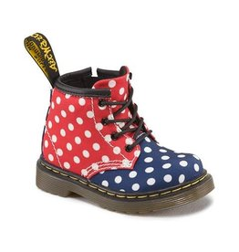 DR. MARTENS BROOKLEE B INFANTS  RED&NAVY DOTS CANVAS Y400PDJ-R15933620