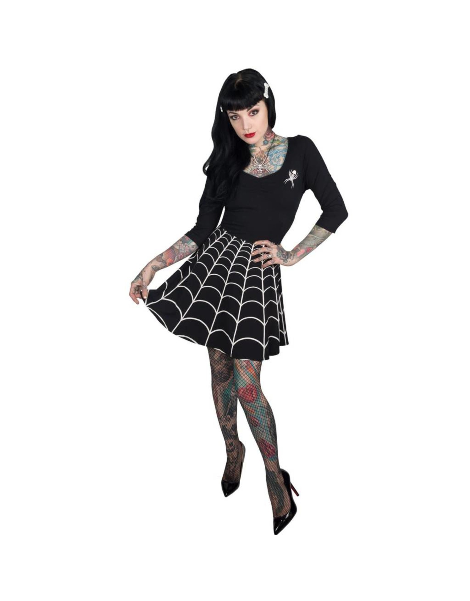 KREEPSVILLE 666 - Spiderweb White Skater Dress