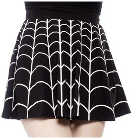 KREEPSVILLE 666 - Spiderweb White Skater Skirt