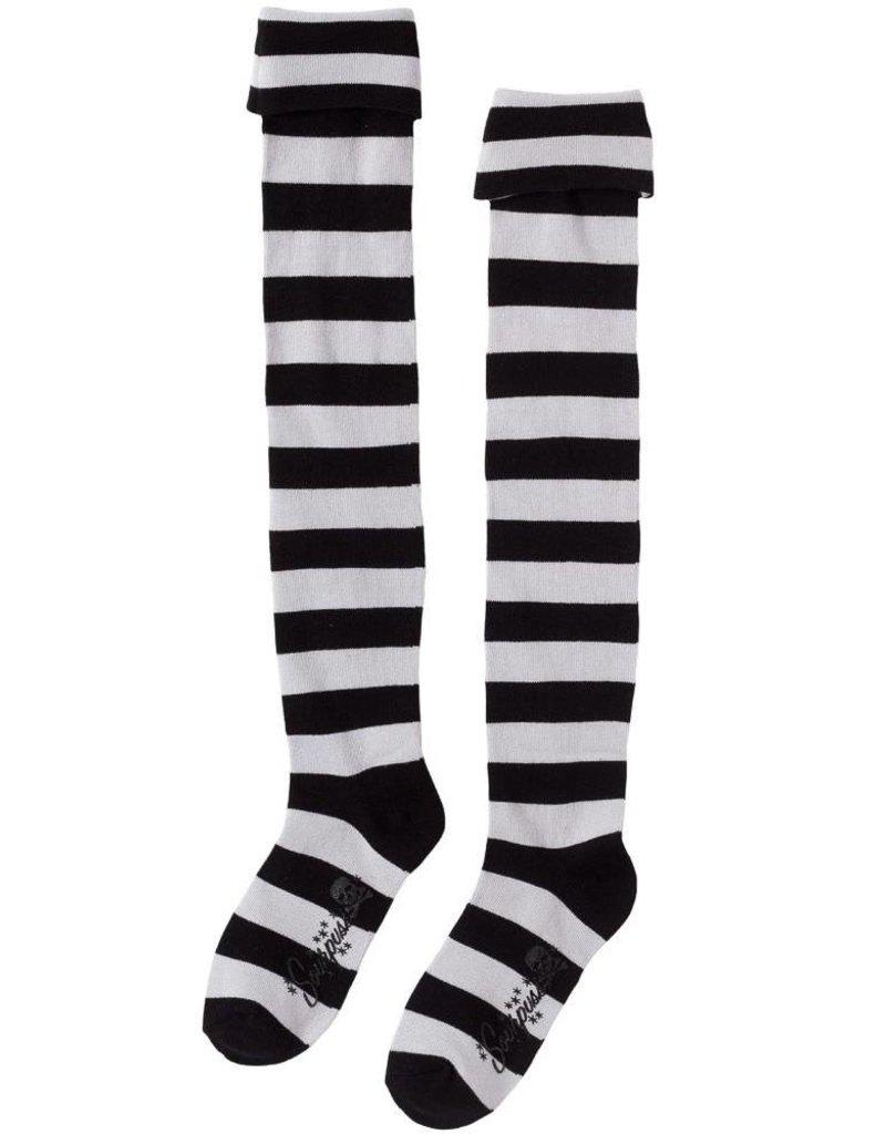 SOURPUSS SOURPUSS - Black/White Striped Socks