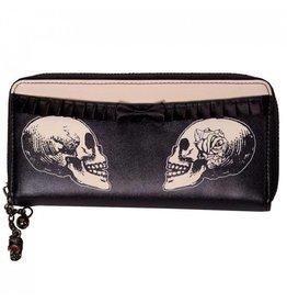 BANNED - Skulls & Roses Beige/Black Wallet