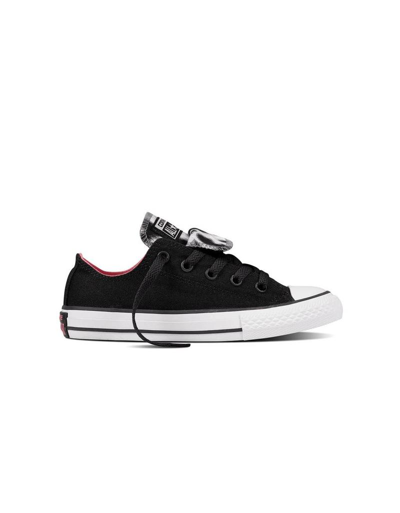 CONVERSE CHUCK TAYLOR DOUBLE TONGUE OX BLACK/HOT PUNCH CWDTV-658110C