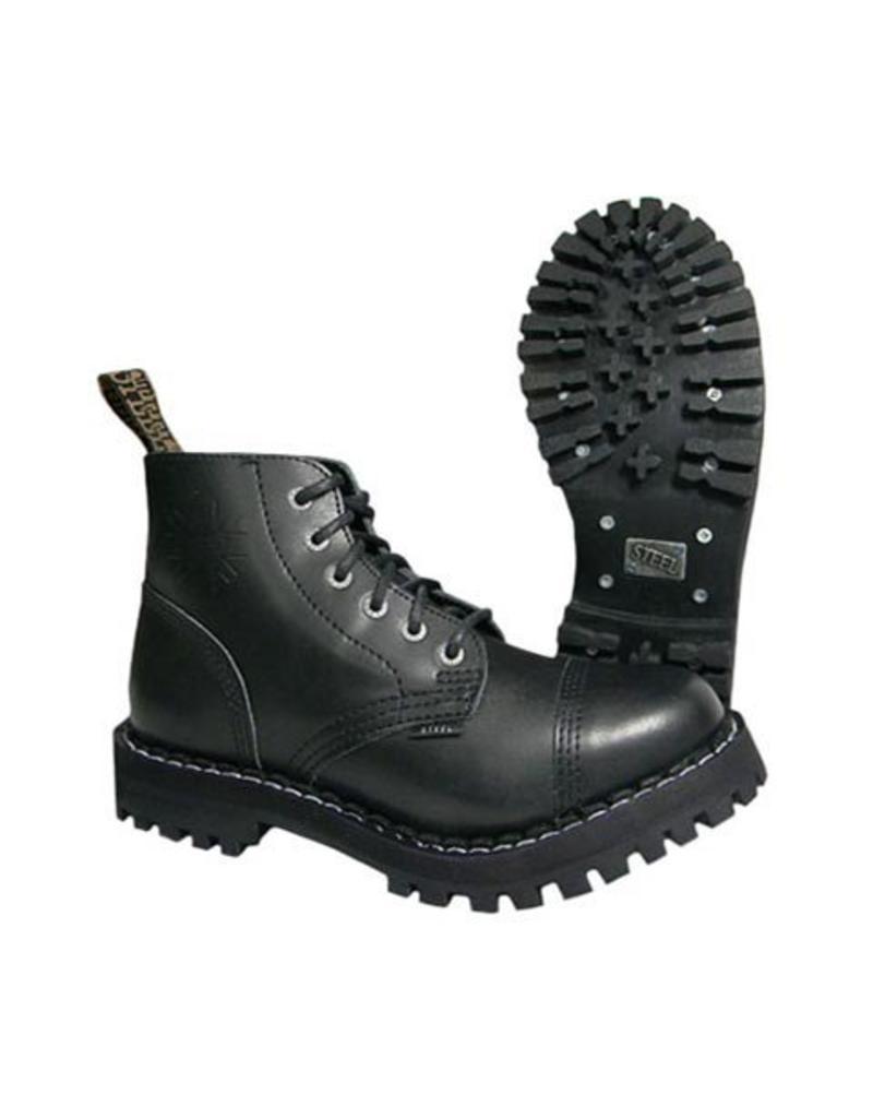 STEEL BOOT 6 EYELETS BLACK NOCAP S600BNC