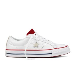 CONVERSE ONE STAR OX CUIR WHITE/GYM RED/WHITE CC887WG-160624C
