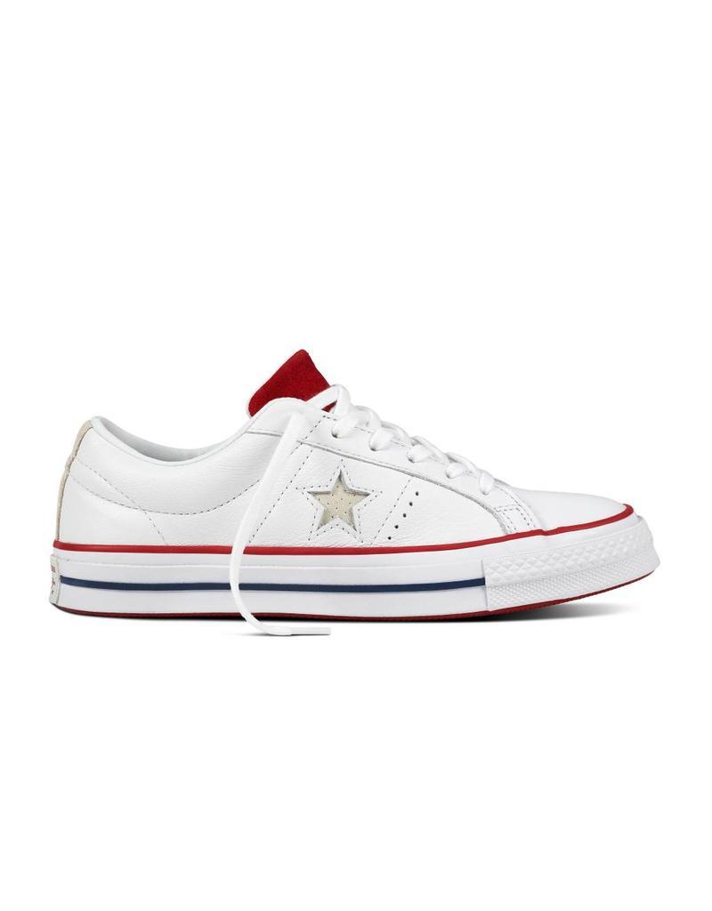 CONVERSE ONE STAR OX CUIR WHITE/GYM RED/WHITE CC887WG-160624C
