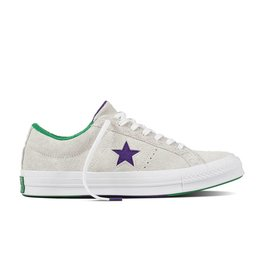 CONVERSE ONE STAR OX SUEDE WHITE/COURT PURPLE/GREEN C887PG-160592C