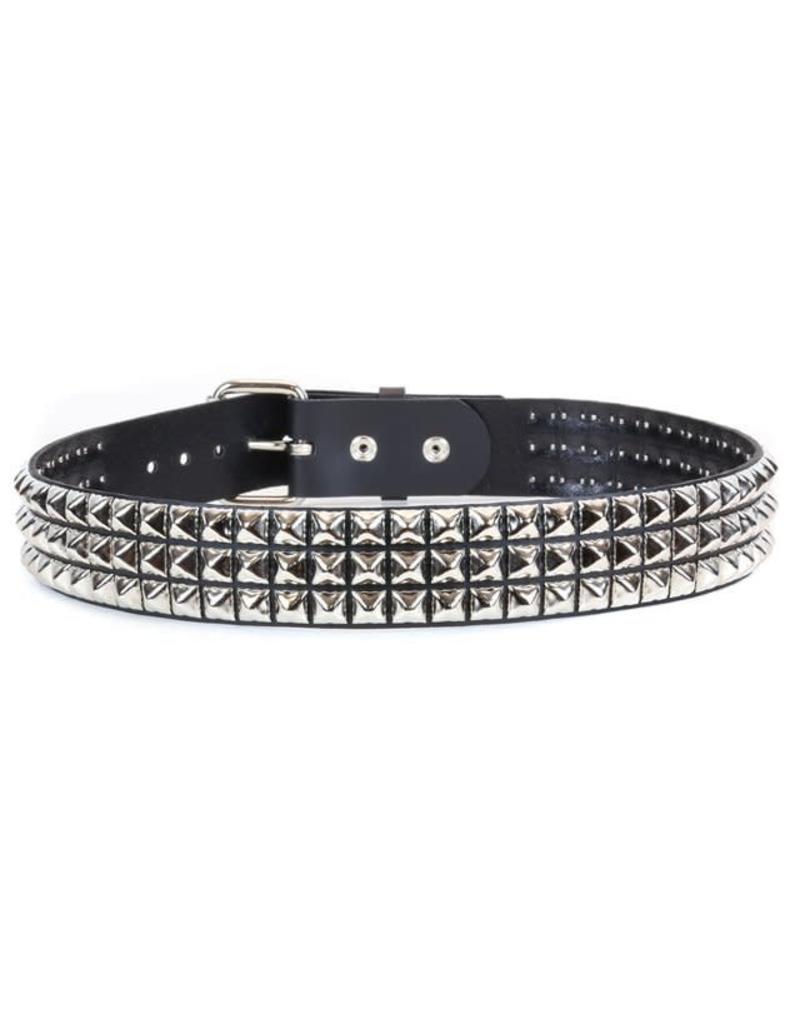 FUNKPLUS - 3 Rows/Silver Studs Belt