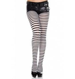 MUSIC LEGS - Striped Tights Black/White