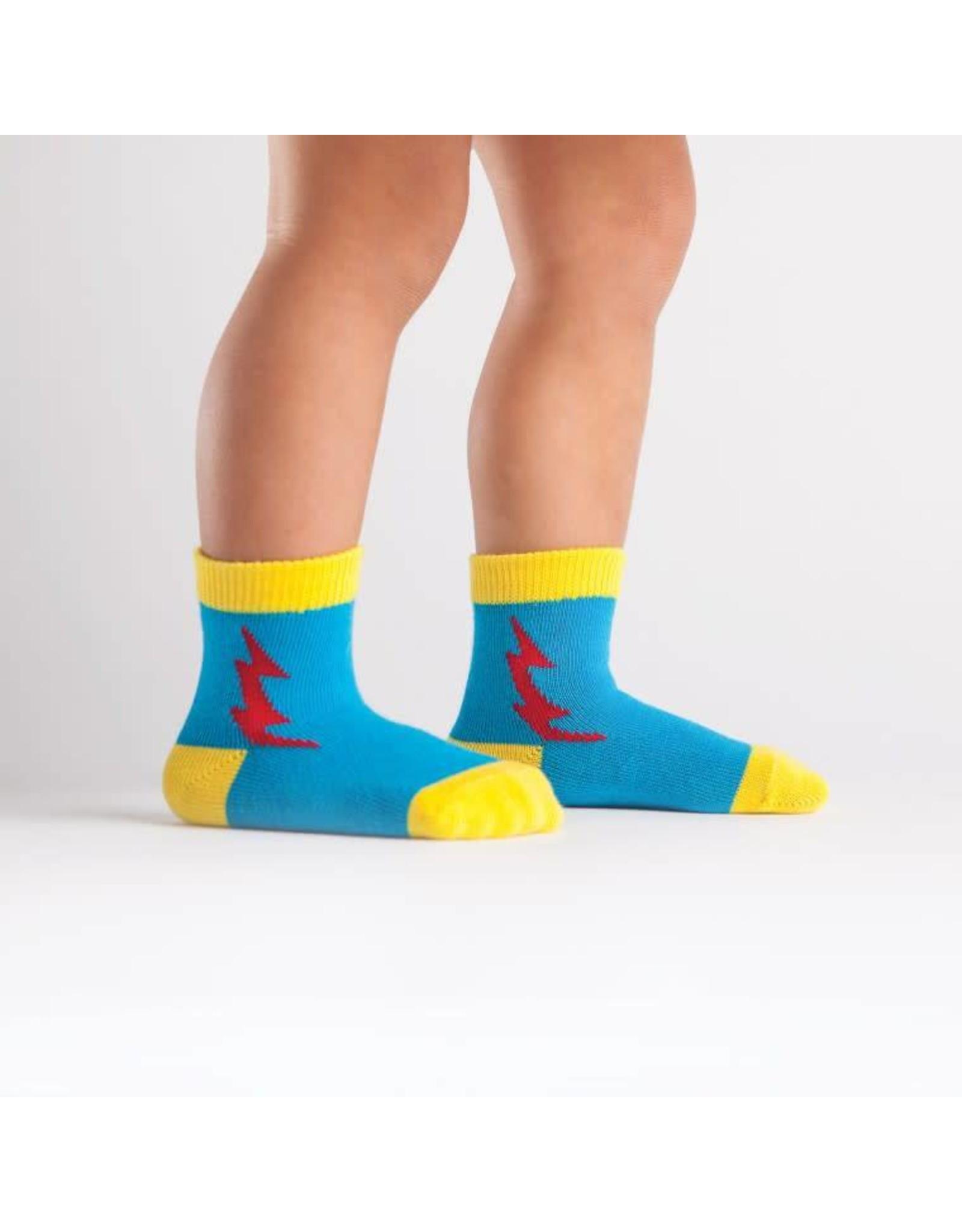 SOCK IT TO ME - Toddler Super Hero! Blue/Red Socks