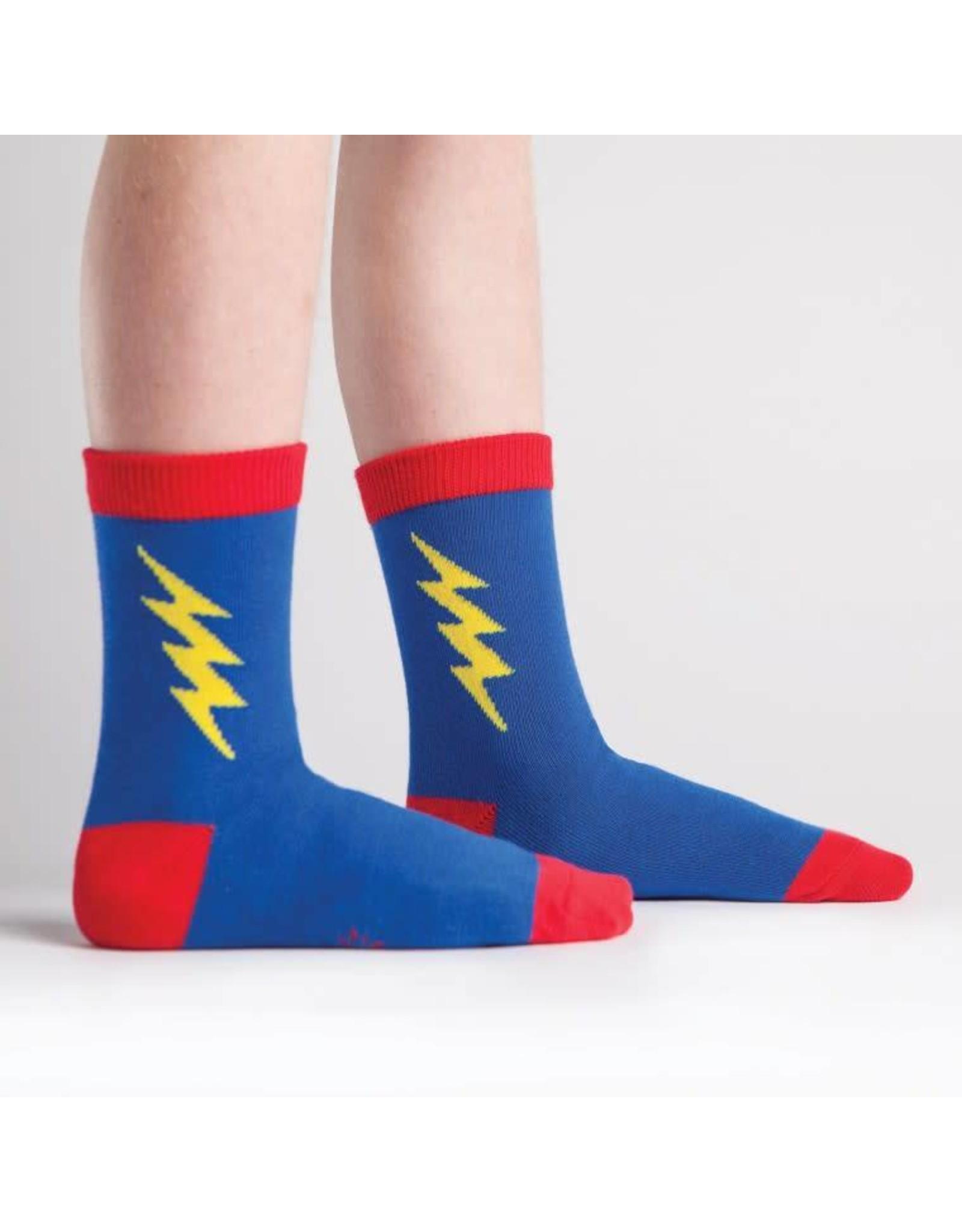 SOCK IT TO ME - Junior Super Hero! Blue/Yellow Crew Socks