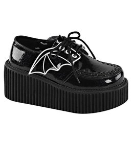 "DEMONIA 3"" Platform Black Creeper w/Bat Wings Detail-D10BW"