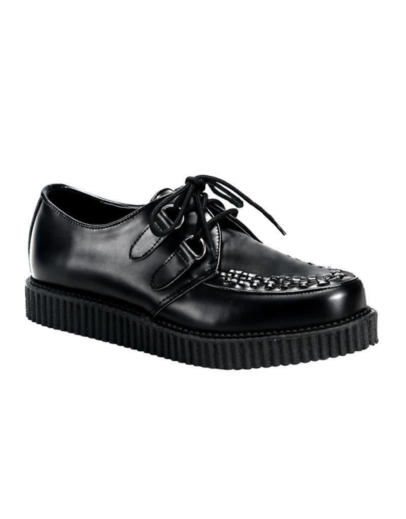 "DEMONIA CREEPER-602 1"" Platform Black Leather Creeper-D1B"