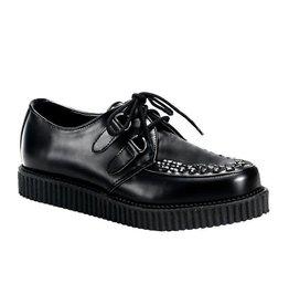 "DEMONIA 1"" Platform Black Leather Creeper-D1B"