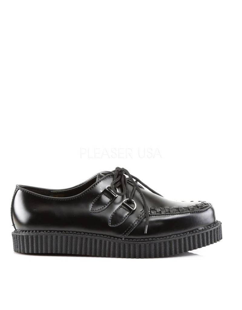 "DEMONIA CREEPER-602 1"" Platform Black Leather Creeper-D1B"