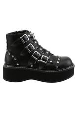 "DEMONIA 2"" Platform Vegan Lace-Up Front/Buckle Strap Ankle Boot Side Zip-D12VBS"