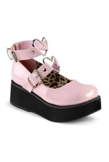 "DEMONIA 2 1/4"" Platform Pink Mary Jane w/Heart O-Rings & Studs Detail-D11PPH"