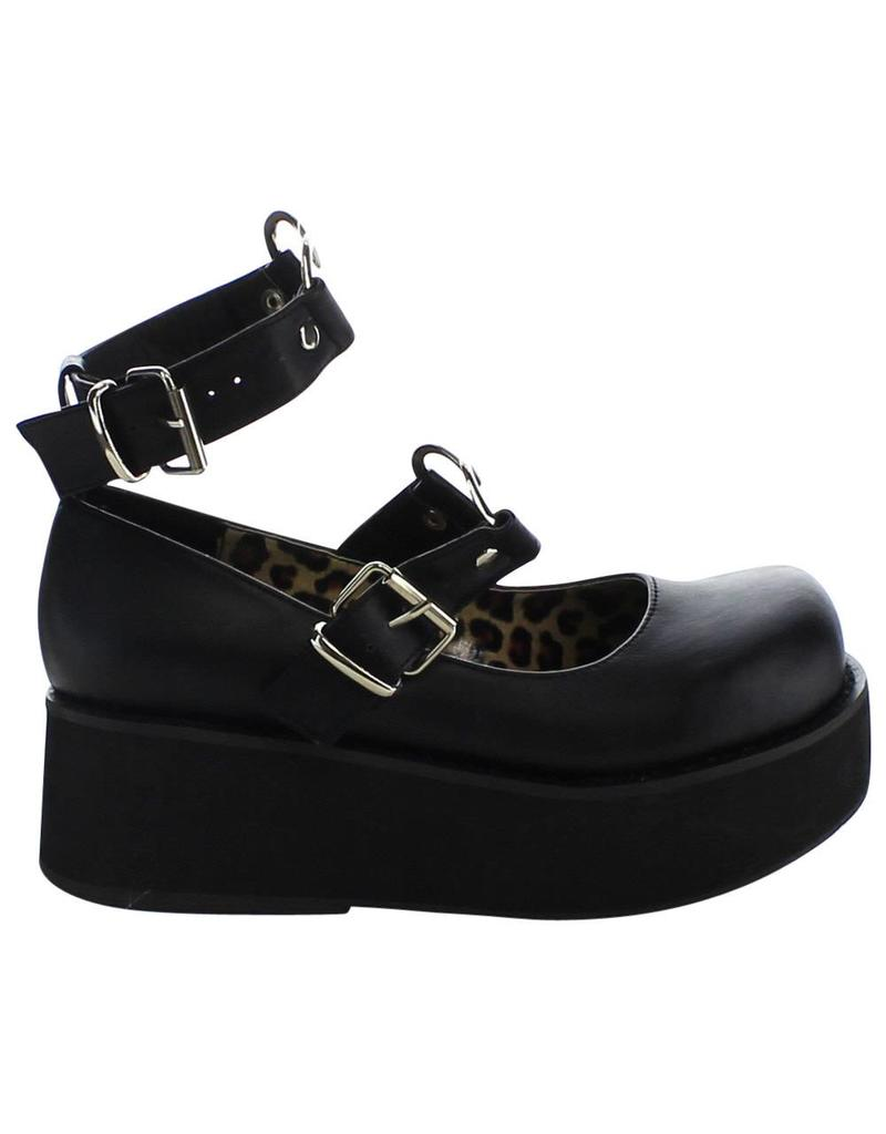 "DEMONIA 2 1/4"" Platform Black Vegan Mary Jane w/Heart O-Rings & Studs Detail-D11VBH"