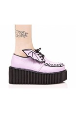 "DEMONIA 3"" Platform Vegan Leather Lavender Creeper w/Bat Wings Detail-D10VLW"