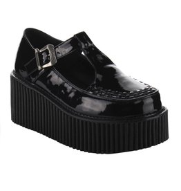 "DEMONIA CREEPER-214 3"" Platform T-Strap Black Creeper w/Side Cutout & Buckle Detail-D8PBM"
