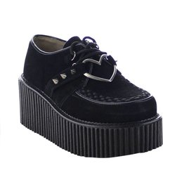 "DEMONIA CREEPER-206 3"" Platform Black Vegan Suede Creeper w/Heart O-Ring & Spikes Detail-D9VBH"