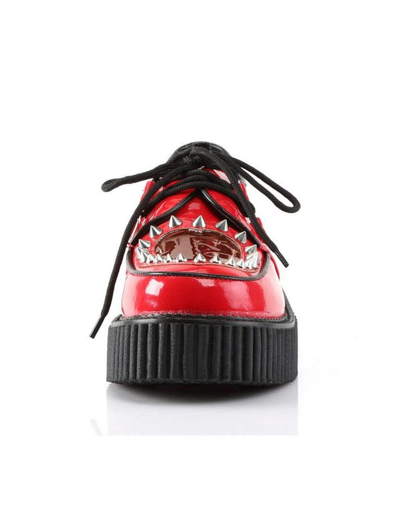 "DEMONIA 2"" Platform Red Creeper w/Heart Cutout Design & Spikes Detail-D7PRH"