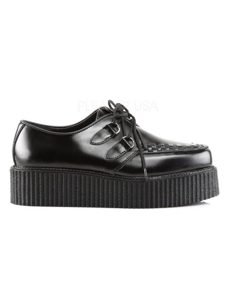 "DEMONIA V-CREEPER-502 2"" Platform Black Vegan Leather Creeper-D3VB"