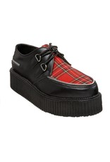 "DEMONIA 2"" Platform Black Leather Red Plaid Creeper Shoe-D4TAR"
