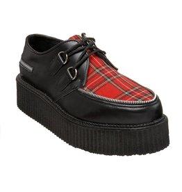 "DEMONIA 2"" Platform Black Leather Red Plaid Creeper Shoe-D4TAR"