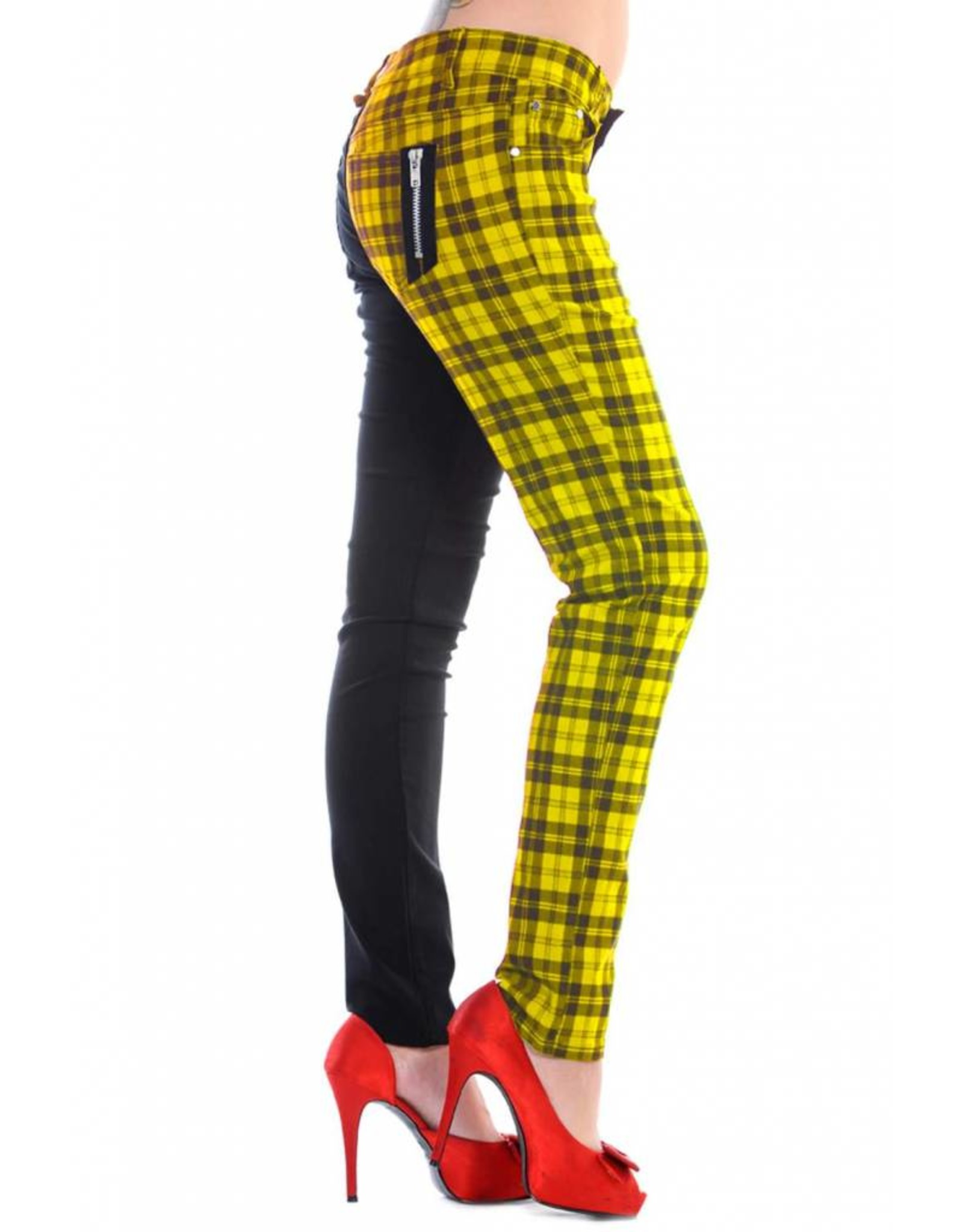 BANNED - Half Black/Checkered Yellow Pants