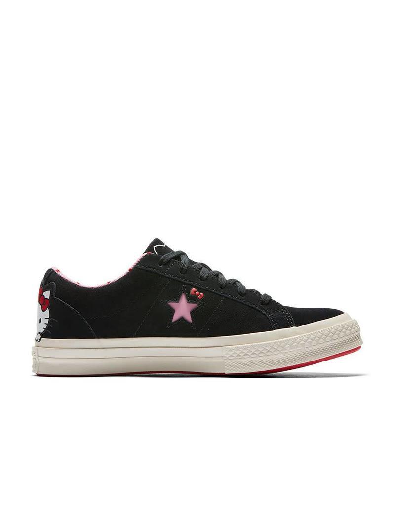 bbeda983837 CONVERSE ONE STAR OX BLACK/PRISM PINK/EGRET HELLO KITTY C887HKB-162938C