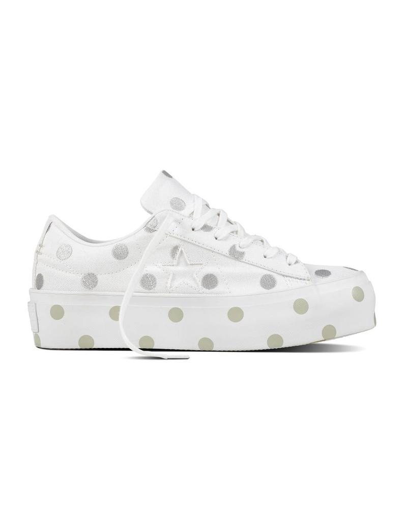 CONVERSE ONE STAR PLATFORM OX WHITE/MOUSE/WHITE C887MOP-560697C