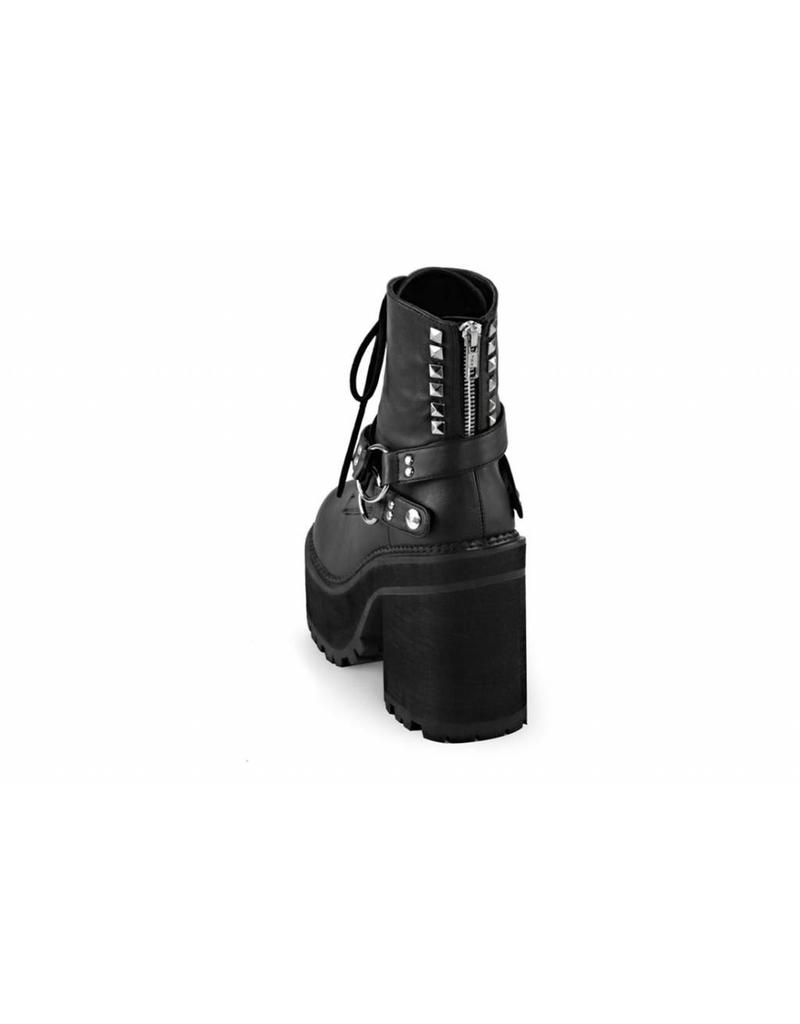 "DEMONIA ASSAULT-101 4 3/4"" Heel, 2 1/4"" PF Lace-Up Boot w/D-Rings & Studs-D13VB"