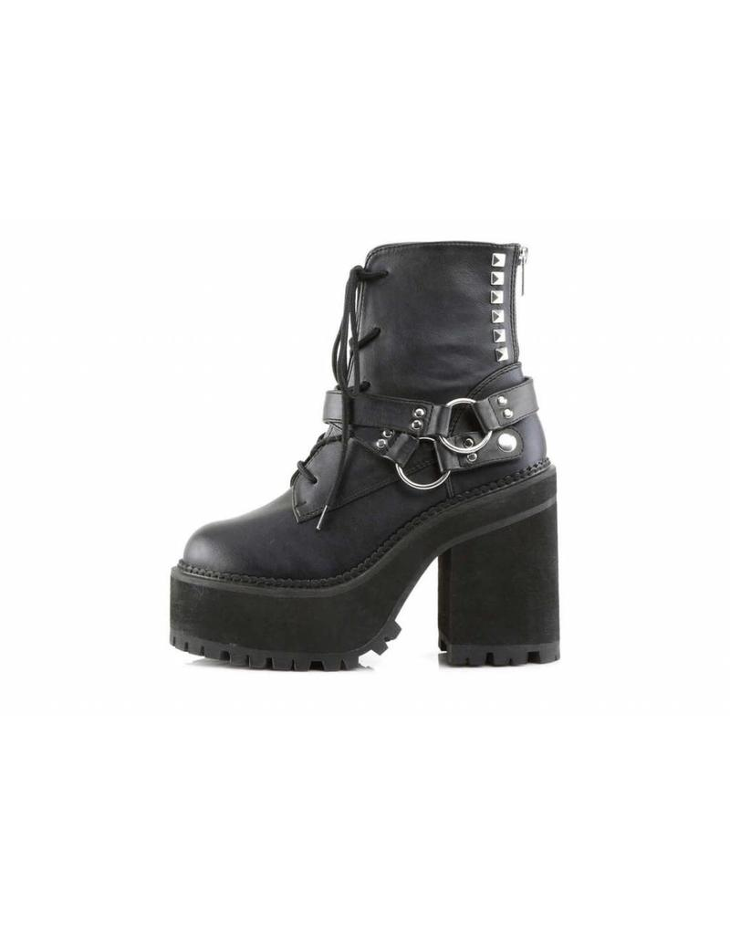 "DEMONIA ASSAULT-101 4 3/4"" Heel, 2 1/4"" PF Lace-Up Boot w/D-Rings & Studs-D13VB"