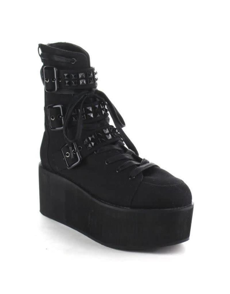 """DEMONIA GRIP-101 2 3/4"""" PF Lace-Up Ankle Boot w/Buckle Straps, Back Zip-D14SBC"""