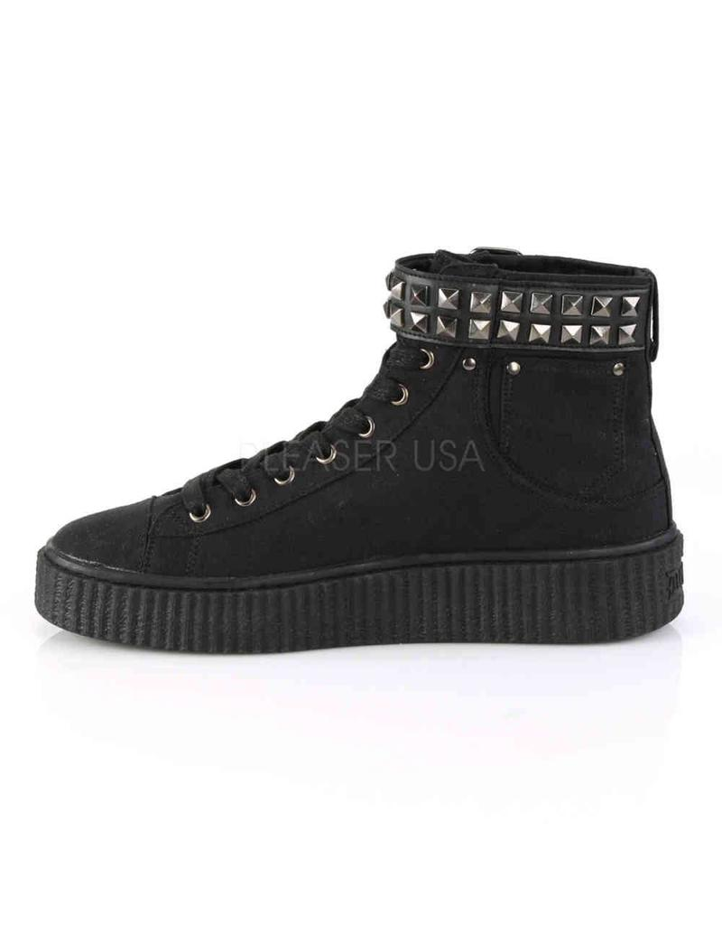 "DEMONIA SNEEKER-255 1 1/2""PF Round Toe Lace-Up Front High Top Creeper Sneaker-D15BCS"