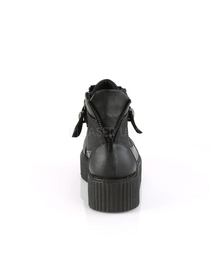"DEMONIA V-CREEPER-566 2"" PF Oxford Creeper Bootie, Inner & Outer Side Zip-D16VBS"