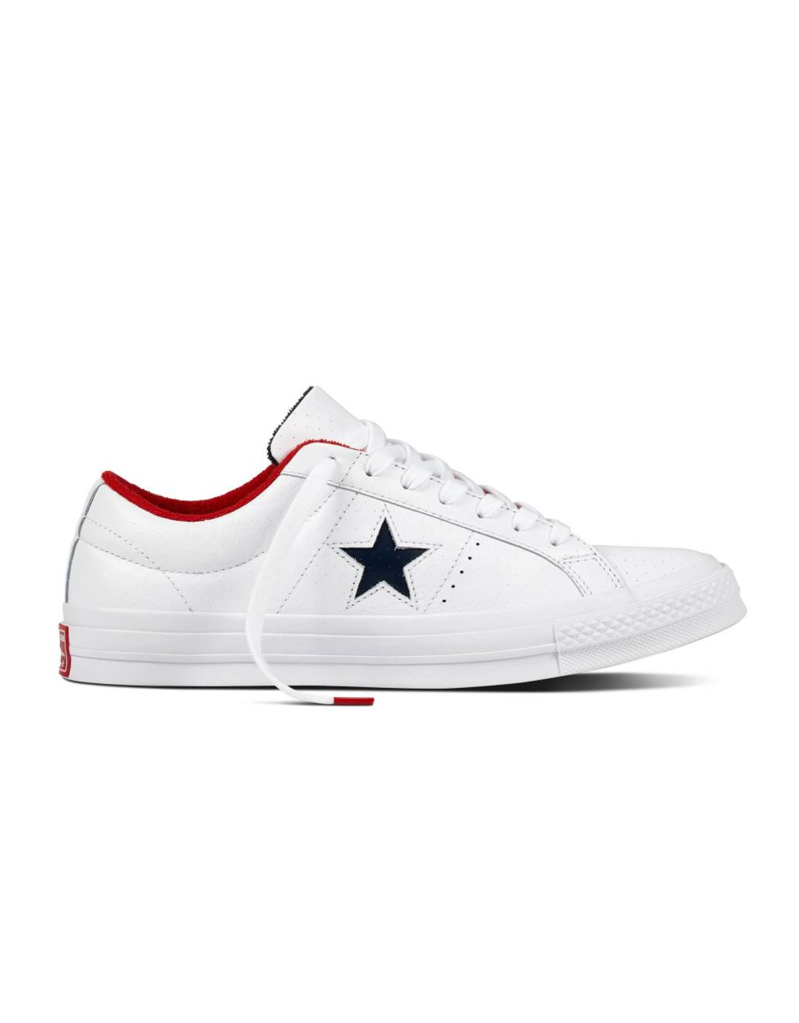 CONVERSE ONE STAR OX CUIR WHITE/ATHLETIC NAVY CC887AN-160555C