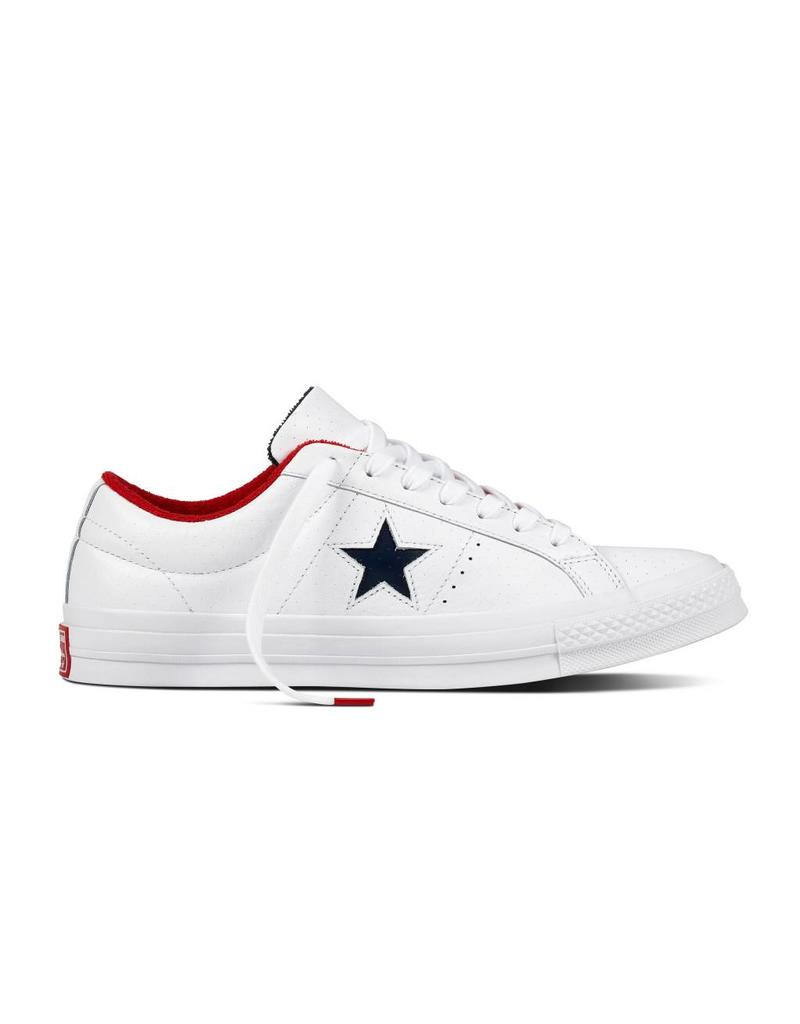 CONVERSE ONE STAR OX CUIR WHITE/ATHLETIC NAVY CC887AN-160555C