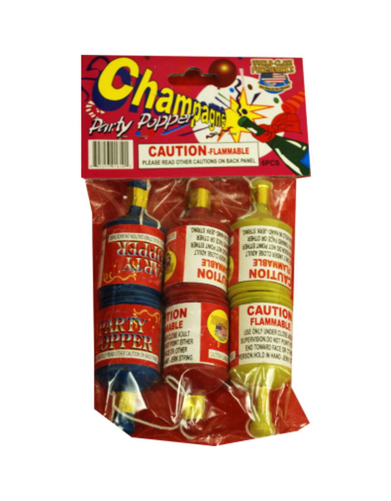 World Class Champagne Party Popper, WC - Pack 6/1
