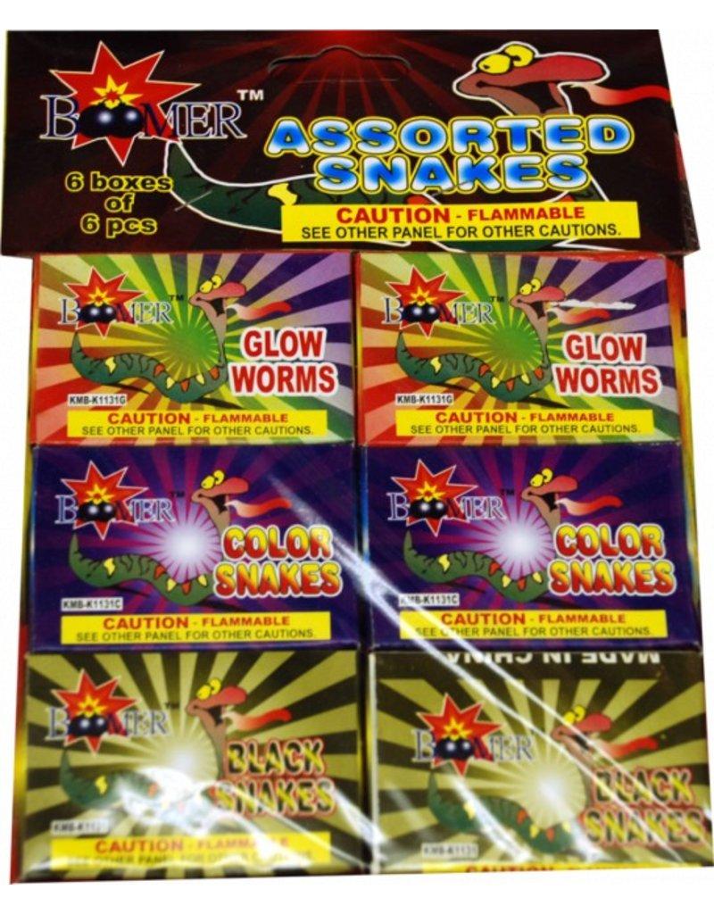Boomer Colored Snake Assortment, BM - Pack 6/6